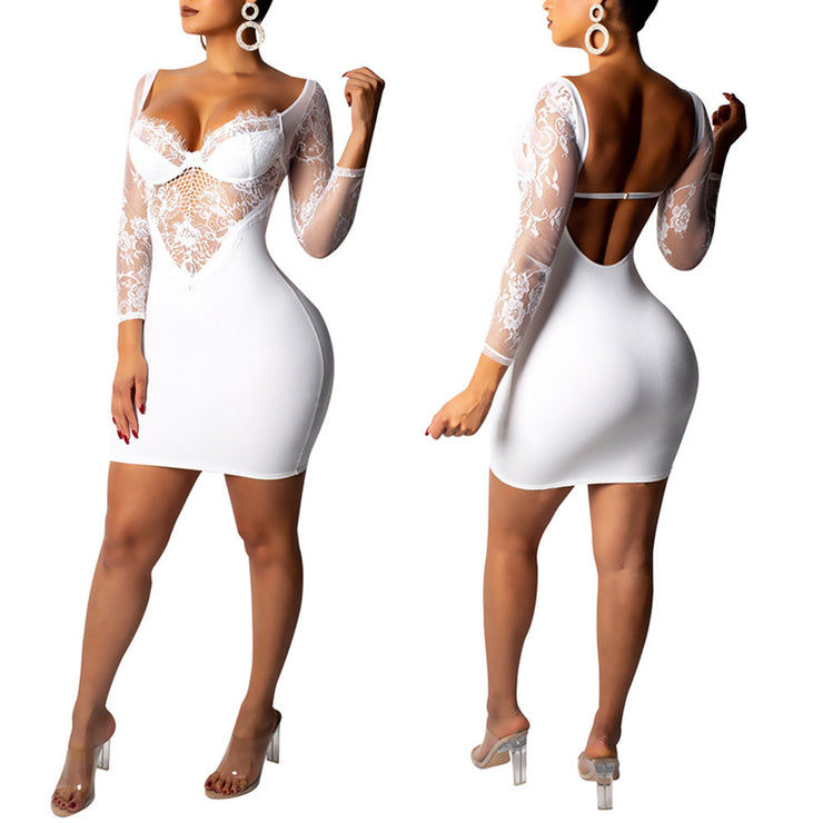 Women Off Shoulder See-through Lace Long Sleeve Sexy Backless Bodycon Mini Dress