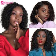 Short Curly Bob Wigs For Black Women Lace Front Human Hair Wigs Brazilian Curly Bob Lace Front Wigs Pre Plucked Ali Pearl Hair