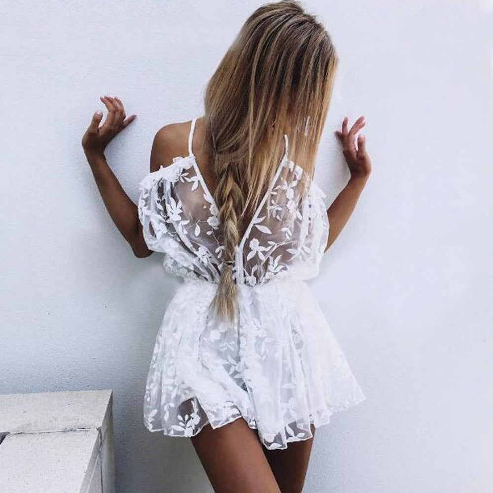 Sexy Summer Hollow Perspective White lace Womens Lace Dress Ladies Plunge Holiday Short Transparent female Cute dresses