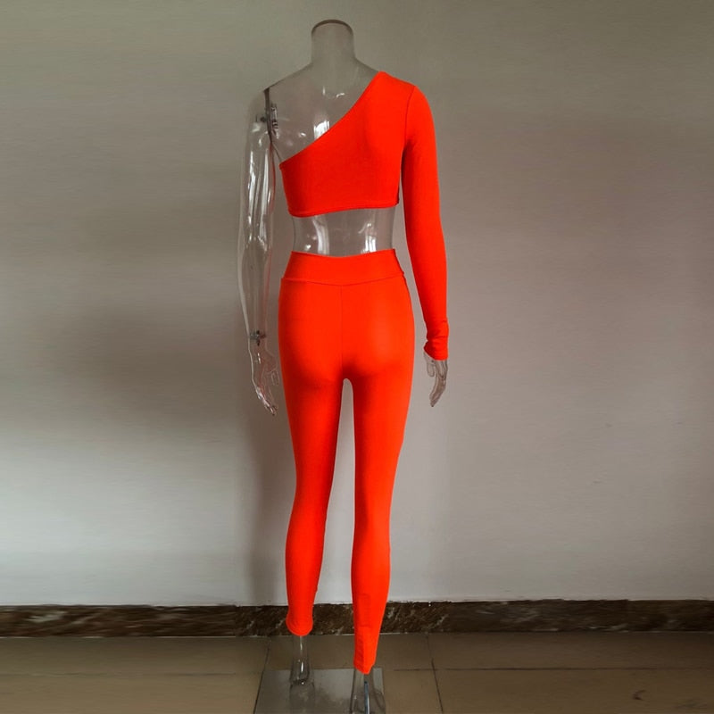 two piece set top and pants one shoulder orange color 2 piece set tracksuit women two piece outfits sexy tweed set