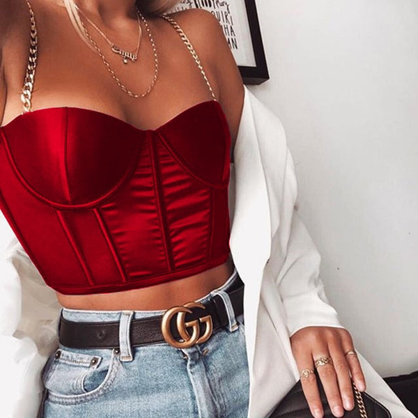 Summer Crop Top Women Sexy Bustier Top Blackless Chain Strap Padded Cropped Casual Satin Black Crop Tops Clothes