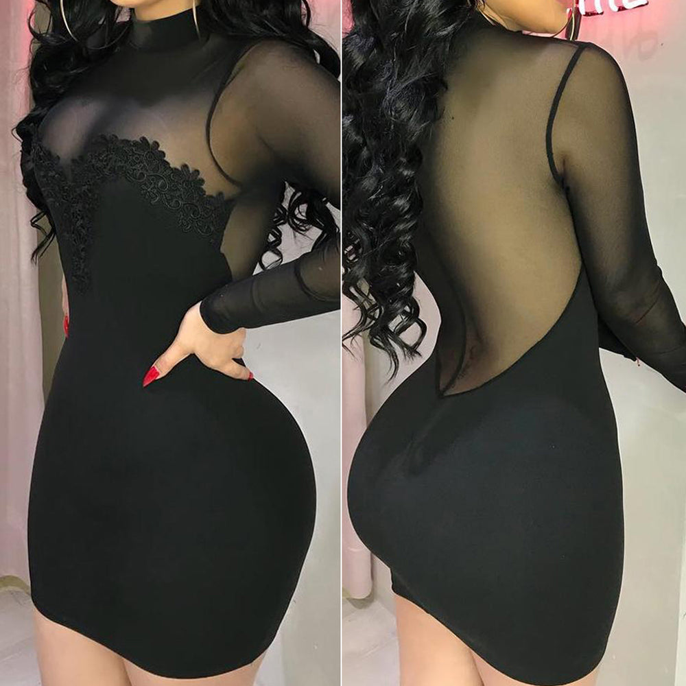 Bandage Bodycon Applique Evening See through Party Mesh Spliced Short Mini Pencil Dress Summer Women Sexy Dresses Long Sleeve