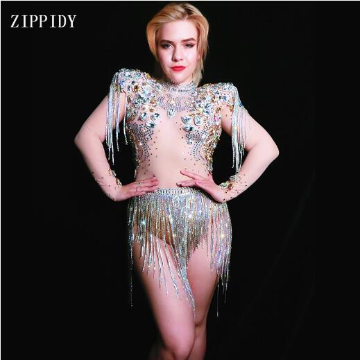Shining Big Crystals Mesh Sexy Bodysuit Sparkly Rhinestones Chains Fringes Outfit Nightclub Party Wear See Through Costume