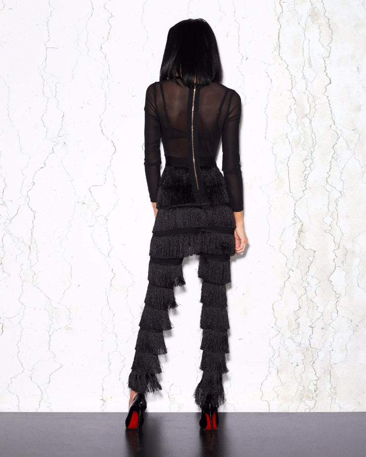 Top Quality Sexy Long Sleeve Tassel Black Women Jumpsuit  Celebrity Designer Fashion Jumpsuit