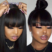 Bang Wig Human Hair Straight Pre Plucked 360 Lace Frontal Wig With Baby Hair Wig With Bangs 150 Density Preplucked Lace Wig Remy