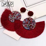 Fashion Bohemian Tassel Crystal Big Earrings Black White Red Silk Fabric Drop Dangle Tassel Earrings For Women Jewelry