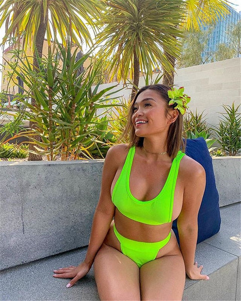2 piece set women Summer neon green tank tops and shorts tracksuits sexy holiday wear bodycon chandal mujer 2 piezas