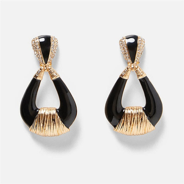 Black Resin/Crystal Drop Earrings For Women Boho Handmade Fringed Tassel Dangle Statement Wedding Earrings Party Gift