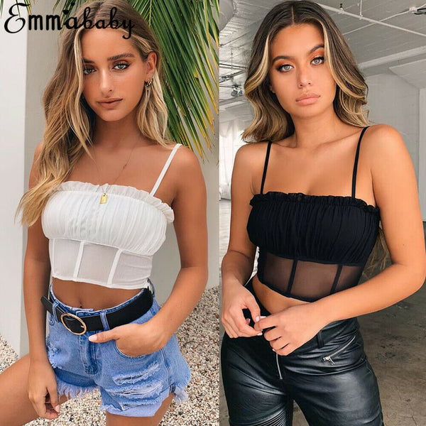 Women Sexy See Through Ruffle Crop Top Bustier Tube Crop Tank Top Cami Tops Vest Blouse