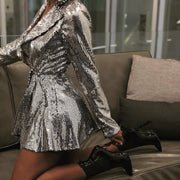 Deep V Neck Party Sexy Dress Sexy  Club Women Long Sleeve Mini Dress Club Vestido Silver Sequin Dress