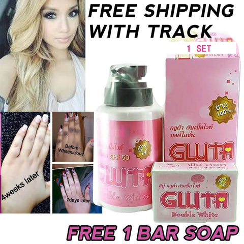 1 Set Whitening Body Lotion Gluta Double White SPF 60 UV Protection Skin Face Free Shipping