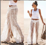 Summer Ladies Sexy Lace Pants Beach Cover Up Trousers High Waist Pants