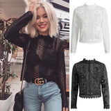 Fashion Women Lace Blouses Sexy Half See through Shirt Casual Crop Tops Hollow Out Long Sleeve Tops Clothes Size 6-14