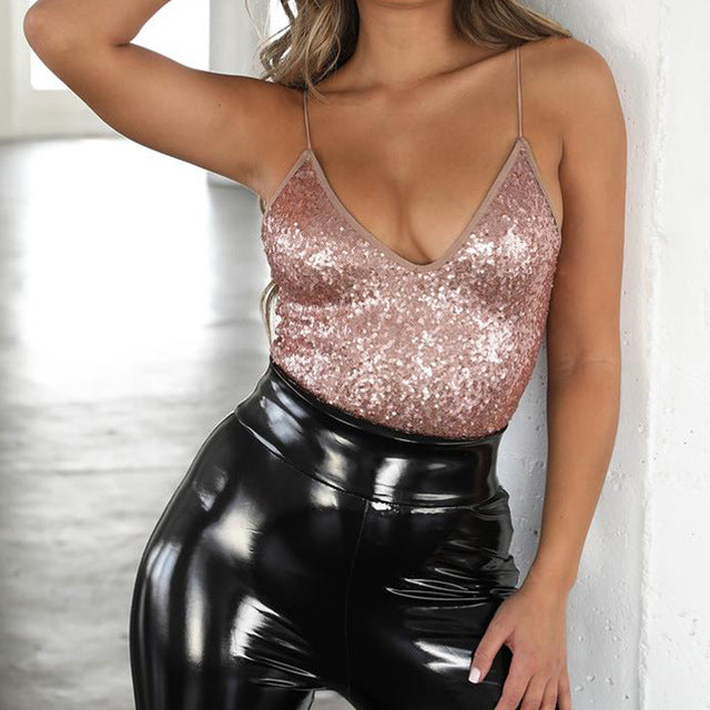 Sexy Sequin Bodysuit Jumpsuit Women Sleeveless Bodycon Top V Neck Party Club Bodysuit Femme Summer Clothing