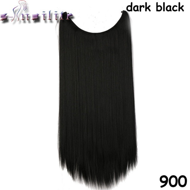 S-noilite 20 inch Invisible Wire No Clip One Piece Hair Extensions Secret Fish Line Hairpieces Silky Straight natural Synthetic