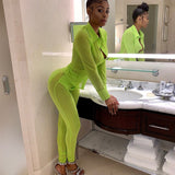 Neon Green Mesh Sexy Two Piece Set Top and Pants Matching Sets Autumn 2019 Women Clothes Sets Club Outfits