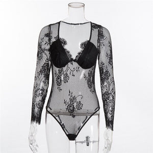 High Fashion Lace Bodysuit Women Floral Embroidery Sexy Bodysuit Long Sleeve Jumpsuit Overalls