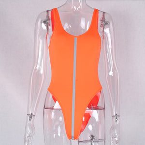 Fashion Reflective Neon Orange Bodysuit Women 2019 Summer Sleeveless Night Club Sexy Skinny One Piece Bodysuit Tops