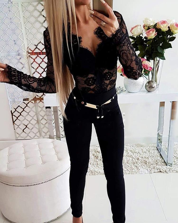 Embroidery eyelash black lace bodysuit long sleeve sexy bodysuit Female floral women body suit