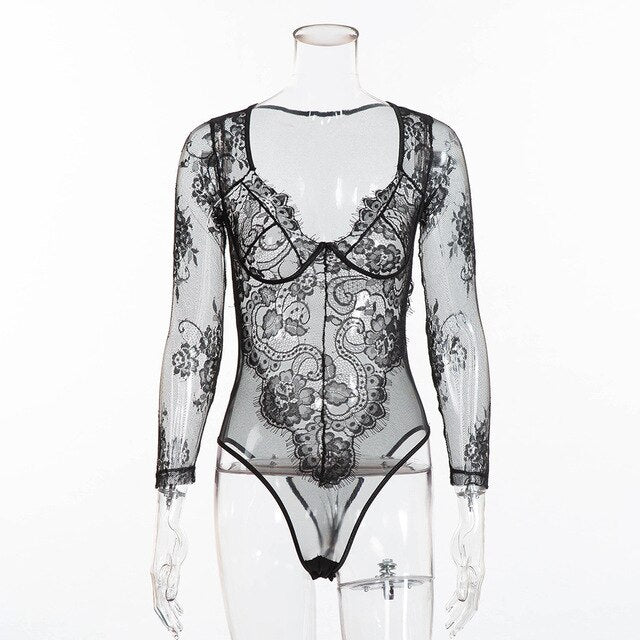 Missbe Long Sleeve Hollow Out Lace Bodysuit Women See-through Floral Embroidery Sexy Bodysuit Summer White Jumpsuit Female