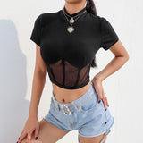 Fashion Women Short Sleeve Mesh Thin Sexy T-Shirt Crop Club Slim Tee Tops