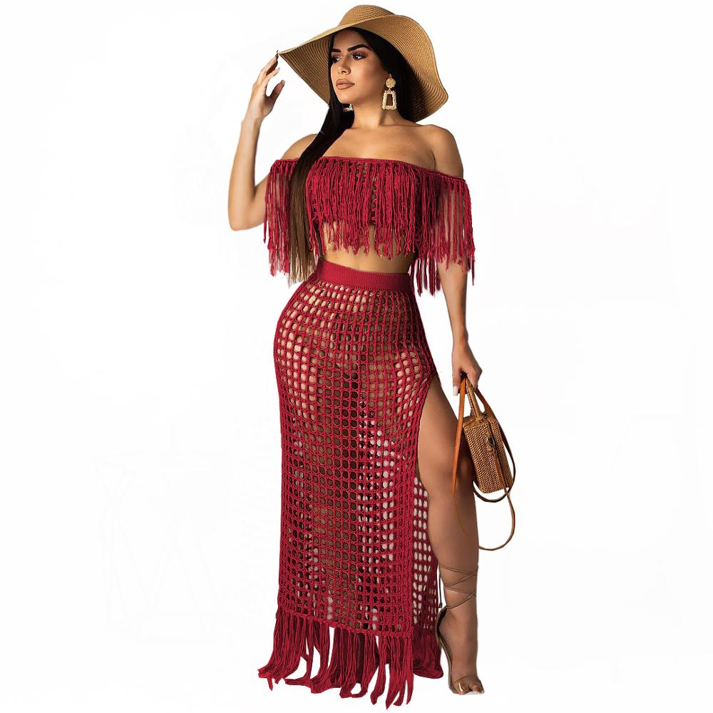 Richietrade Casual Knitted Women Skirt Set Slash Neck Crop Top Long Slit Skirt Hollow Out Beach Skirt Suit Two Pieces Women Set