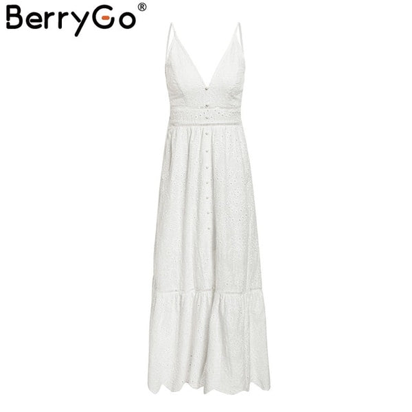 White pearls sexy women summer dress Hollow out embroidery maxi cotton dresses Evening party long ladies vestidos