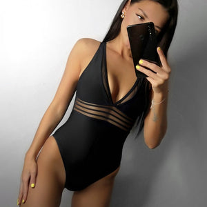Riseado New One Piece Swimsuit Solid Swimwear Women Sexy Mesh Plunging Swimsuits Women Bathing Suits U-back Beachwear