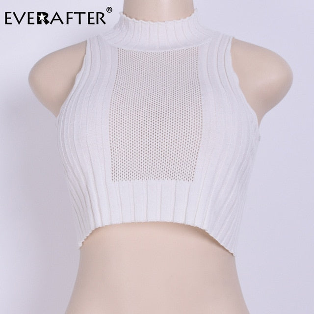 Streetwear Solid Knitted Hollow Out Tank Tops Women Stand Sleeveless Crop Top Sexy Slim Ladies Basic Tees Camis