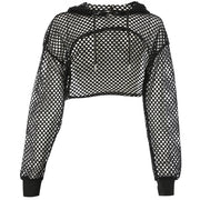 Sexy Hollow Out Long Sleeve Crop Top Women Black White Lace Up Sun Protection T Shirt Basic Tops Tees