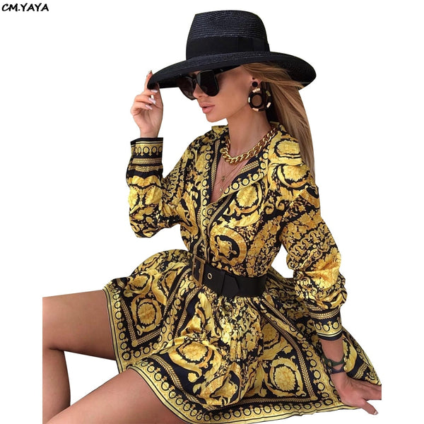 women new vintage paisley print turn down neck long sleeve mini dress blouses shirt casual dresses vestidos outfit