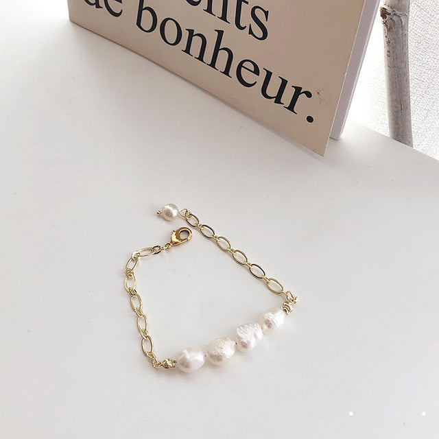 New Baroque Irregular Imitation Pearls Gold Metal Link Chain Bracelets for Women Girl Summer Party Jewelry
