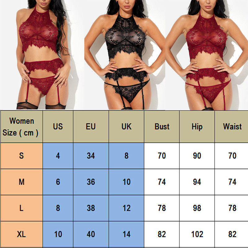 Ladies Women Sexy Lingerie Exotic Sets Nightgown Fashion Female Babydoll Underwear Lace Bra Garter G-String 3Pcs Sets Sleepwear