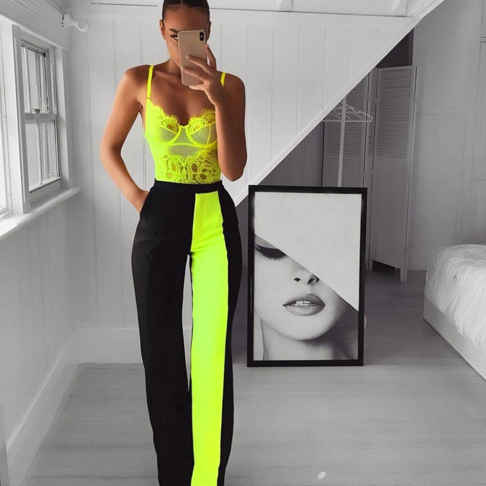 Neon Summer Green Lace Bodysuit Women Floral Embroidery Bow Tie Transparent Sexy Bodysuit Jumpsuit Overalls Party