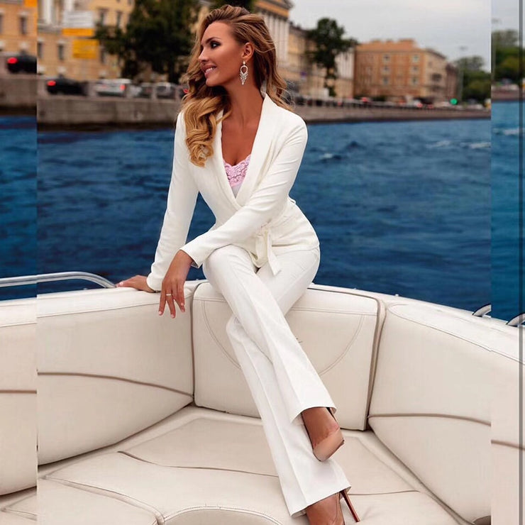 new fashion red white women set sexy long-sleeved jacket & pants 2 pieces two-piece casual party office pants suit set