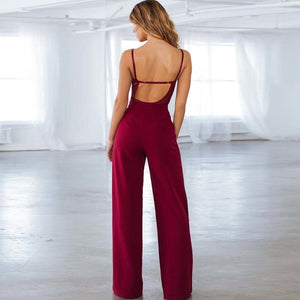 Sexy v neck women jumpsuit lace spaghetti straps backless female jumpsuit romper Casual wide leg party ladies overalls