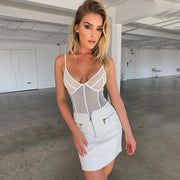 Deep V-Neck Mesh Bodysuit Women Sexy Backless Jumpsuit Summer Sheer Teddy Fashion Hollow Out Straps Bodysuits