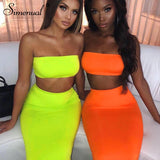 Simenual Sexy Party Matching Set Women Fashion Sleeveless 2 Piece Outfits Neon Color Strapless Top And Skirt Sets Summer