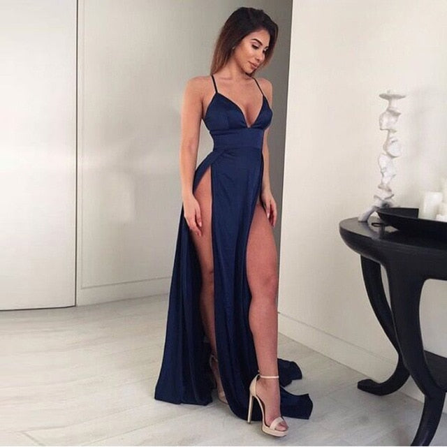 Sexy High Split Long Party Dress V Neck Strappy Padded Red Navy Green Satin Summer Dress Backless Hollow Out Dress