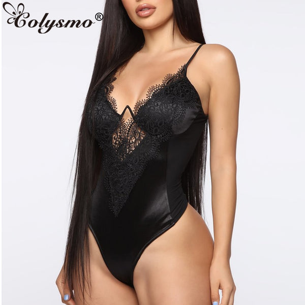 Sexy Bodysuits Summer Party Club Wear Lace Black Bodysuit Women Deep-V Side See Through Mesh Bodycon Body Tops