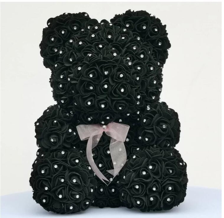 Diamond rose bear with heart artificial roses foam roses flower Diamonds  bear rose Valentine&