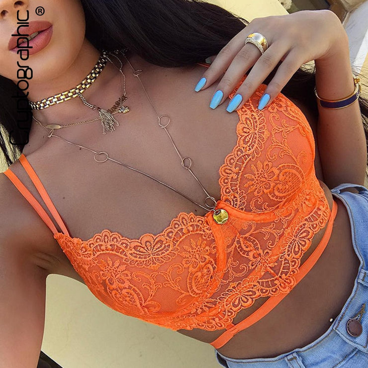 Cryptographic Floral Lace Bralette Bandage Hollow Out Sexy Crop Tops Women Summer Sleeveless Bustier Tops Underwear Streetwear