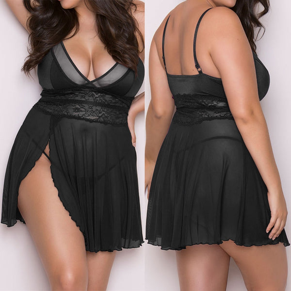 Women Plus Size 4xl Sexy Erotic Lingerie See Through Straps Nightdress Sexy Underwear Christmas Clothes Female Intimate Wear