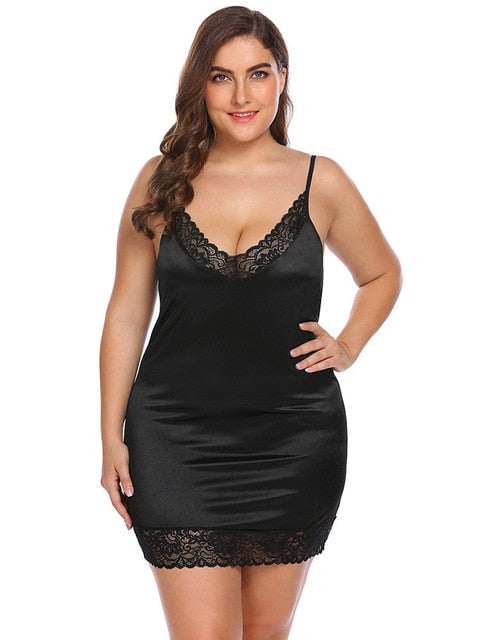Plus Size 5xl 6xl Women Deep Mesh See Through Sexy Lace Erotic Lingerie Suit Nightdress Underwear Sexy Christmas Clothes Female