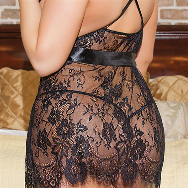 Black See Through Lace Sling Flower 4xl 5xl 6xl Plus Size Sexy Erotic Lingerie Pajamas Women Sexy Outfit Dress Erspective Tassel