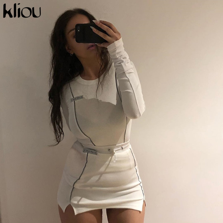 women fashion Reflective Striped patchwork two pieces set 2019 white full sleeve crop top bottom skirts outfit tracksuit