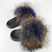 Real Fox Fur Slides Wholesale Furry Sliders Women Ladies Fur Slippers hand mada amazing Quality