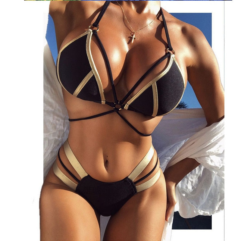 Hot Push Up Womens Bikini Set Halter Solid Color Beach Swimsuit Padded High Waist Bathing Suit Swimwear Beachwear