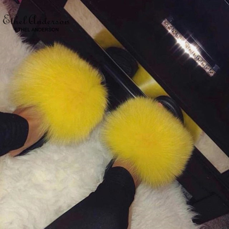 Ethel Anderson Fashion Real Raccoon Fur Slides Slippers Summer Flip Flops Casual Vogue Fox Fur Sandals Vogue Plush Shoes