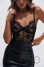 Black/White Full Lace Underwire Bodysuit - Miss.Be